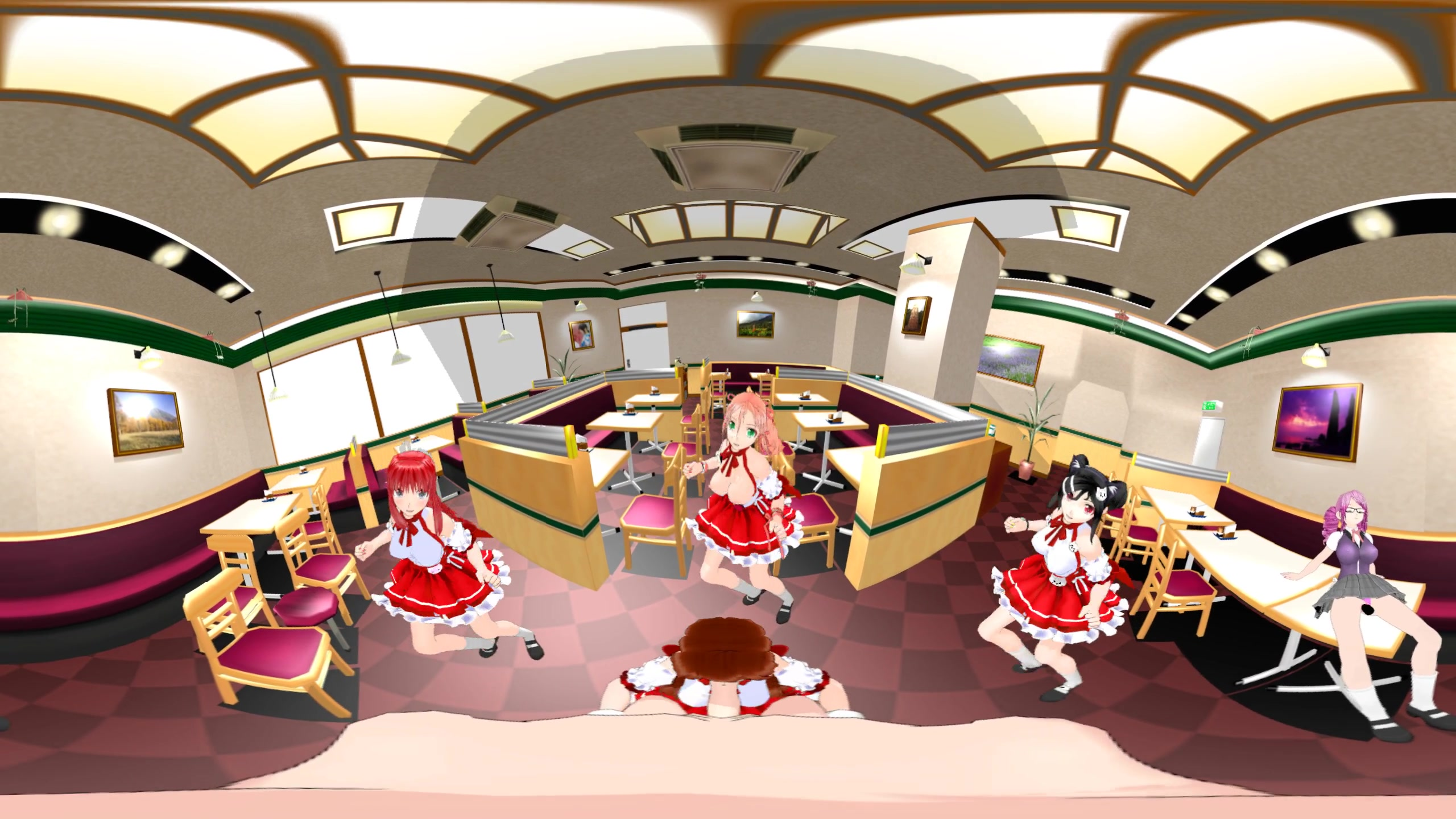 sexy dancing anime girls in cafe with blowjob - vr porn video