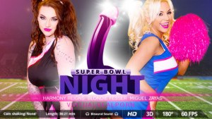 Super Bowl Night VirtualRealPorn Blondie Fesser Harmony Reigns Miguel Zayas vr porn video vrporn.com virtual reality