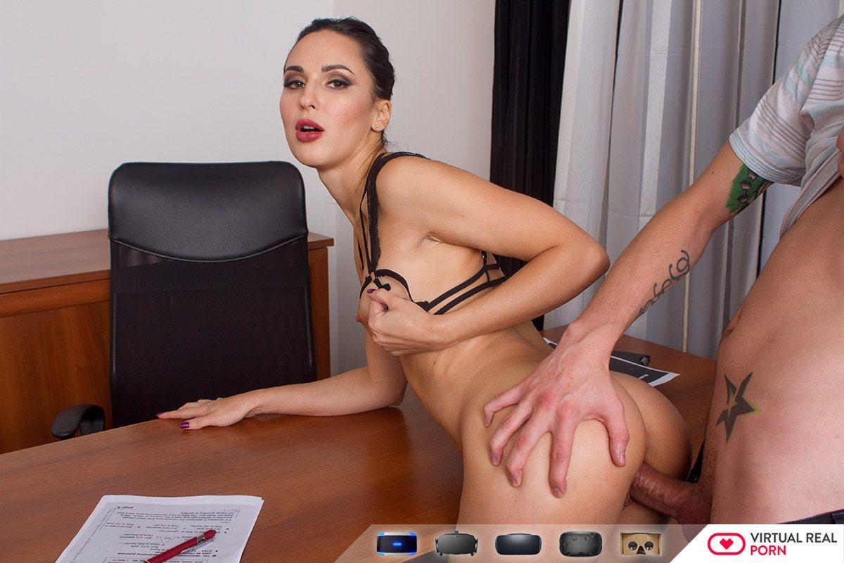 teacher's office – skinny russian brunette lilu moon vr - vr porn