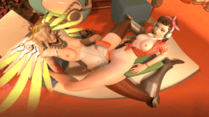 Overwatch Dva and Mercy Scissoring (With Sound) vr porn video vrporn.com virtual reality