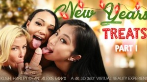 New Year's Treats Part 1 VR Bangers Alexis Fawx Harley Dean Jade Kush vr porn video vrporn.com virtual reality