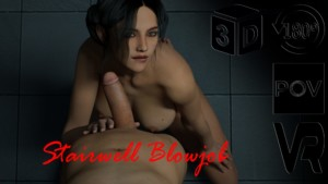 Stairwell Blowjob AMTVR vr porn video vrporn.com virtual reality