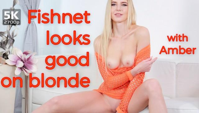 Fishnet Looks Good On Blonde TmwVRnet Amber vr porn video vrporn.com virtual reality