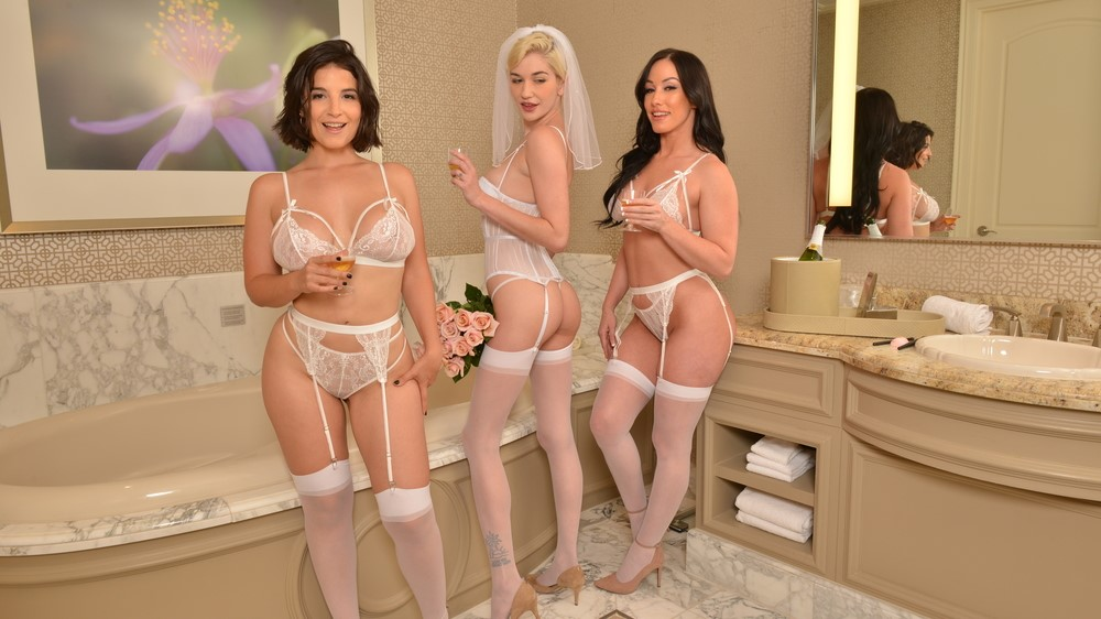 Bride And Her Bridesmaids Share A Stranger's Cock One Last Time