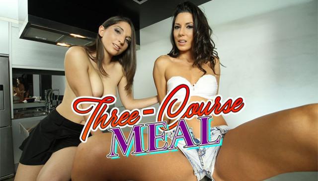 Three-Course Meal - Have 2 Sexy Ladies for Dessert BadoinkVR Alexa Tomas Jimena Lago vr porn video vrporn.com virtual reality