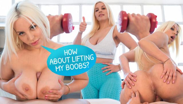 Workout with Blondie RealJamVR Blondie Fesser vr porn video vrporn.com virtual reality