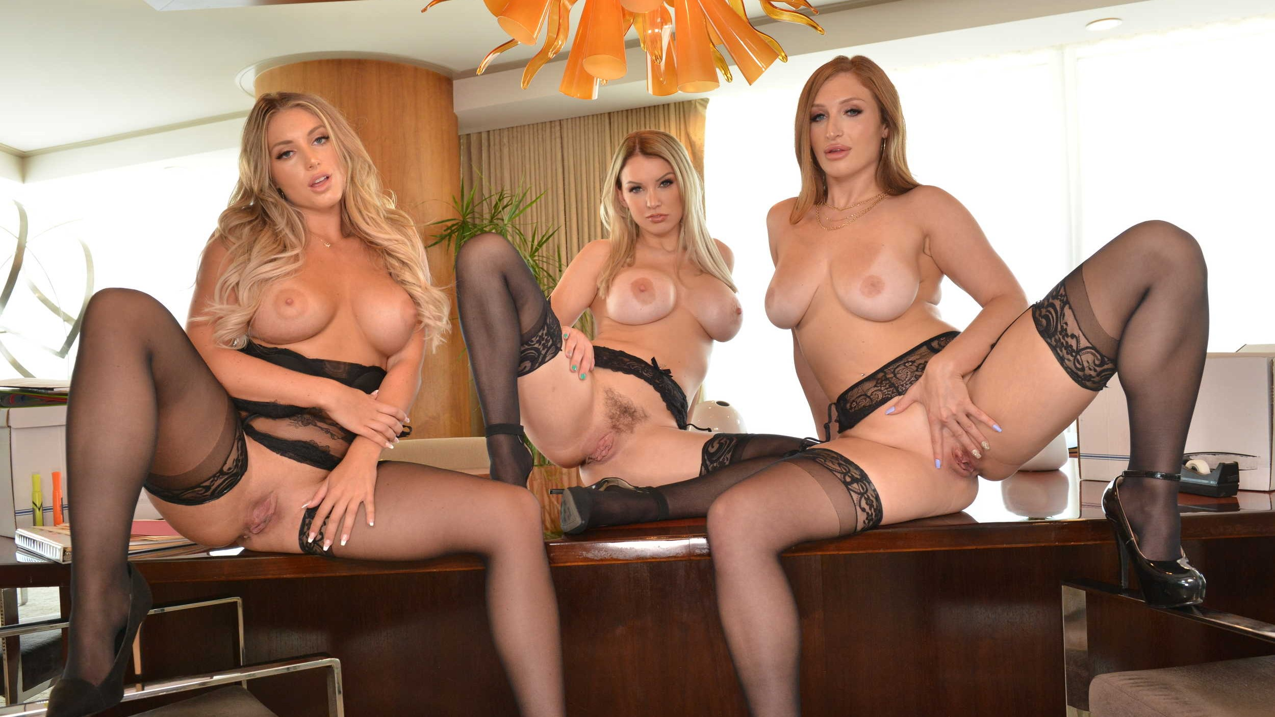 Slutty coworkers, Kayley Gunner, Kenzie Taylor, & Skylar Snow, will do anything to get out of work early and enjoy the Labor Day weekend